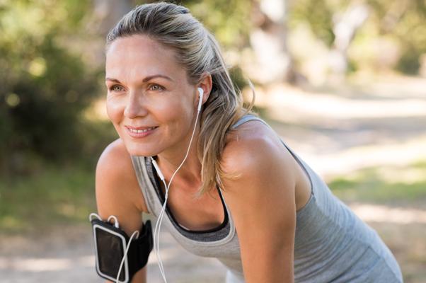 woman smiling exercising